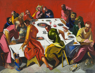 Lord's supper. Oil on canvas. 180x250